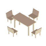 Table with chairs for office or cafe. 3d isometric vector illustration. Royalty Free Stock Image