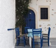 Table And Chairs On Patio In Crete Greece Stock Image