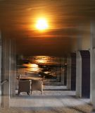 Table and chairs - photomontage  Stock Image