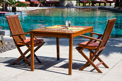 Table and chairs in resort Royalty Free Stock Images