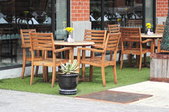 Table and chairs in restaurant outdoor. Royalty Free Stock Photos