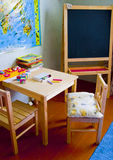 Table, chairs, school board are in a class Royalty Free Stock Images
