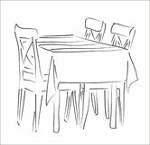 Table and chairs silhouette vector Stock Photography