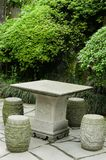 Stone table chairs. Stone table and chairs in park Stock Images