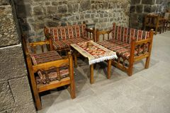 Table and chairs in tea house Royalty Free Stock Images