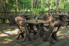 Table and chairs wood in forest Royalty Free Stock Photography