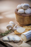 Table with cheese. Cheese table with knife, rosemary and mushroons Stock Photos