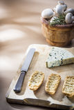Table with cheese. Cheese table with knife, rosemary and mushroons Stock Photography