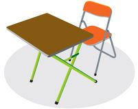 Table for child. Study table is waiting for a student with laptop computer Stock Photos