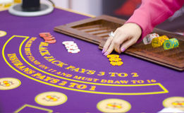 Table with chips in casino. Table with chips in Russian casino Royalty Free Stock Photos