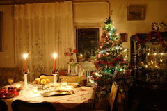 Table at Christmas Royalty Free Stock Photos