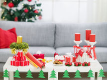 Table with Christmas decorations royalty free stock images