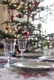 Table for christmas dinner. Table prepared for christmas dinner to serve Royalty Free Stock Images