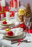 Table for Christmas Eve dinner is ready Royalty Free Stock Images