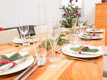 Table with Christmas tree Stock Photography