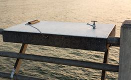 Table for cleaning fish off pier in Florida Royalty Free Stock Photography