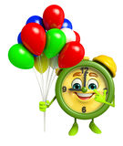 Table clock character with balloons Stock Photo