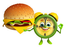 Table clock character with burger Stock Photos