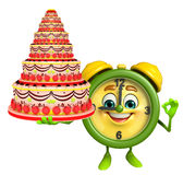 Table clock character with cake Royalty Free Stock Images