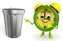 Table clock character with dustbin Stock Photos