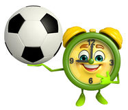 Table clock character with football Royalty Free Stock Images