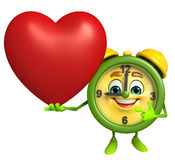 Table clock character with heart Stock Photography