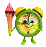 Table clock character with icecream Stock Photography