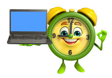 Table clock character with Laptop Royalty Free Stock Image