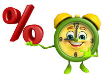 Table clock character with percent sign Stock Photography