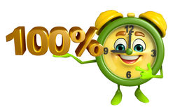 Table clock character with percent sign Royalty Free Stock Photos