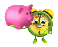Table clock character with piggy bank Royalty Free Stock Photography