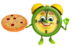 Table clock character with pizza Royalty Free Stock Image