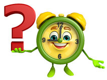 Table clock character with question mark Stock Photo