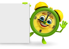 Table clock character with sign Stock Image