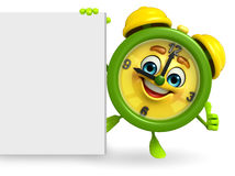 Table clock character with sign Royalty Free Stock Photo