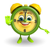 Table clock character with stop pose Royalty Free Stock Photos
