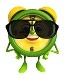 Table clock character with sun glasses Royalty Free Stock Photography