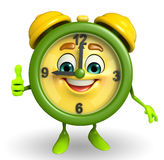 Table clock character with thumbs up Royalty Free Stock Photos