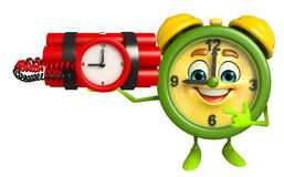 Table clock character with time bomb Royalty Free Stock Images