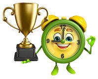 Table clock character with trophy Royalty Free Stock Images