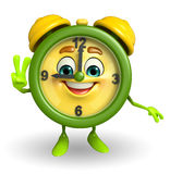 Table clock character with victory sign Royalty Free Stock Photo