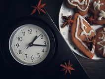Table clock with star anise spice Stock Images