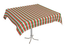 Table with cloth, clipping path included. Table with cloth, italian colors tablecloth, clipping path included, 3d illustration, isolated on white Royalty Free Stock Photo