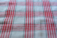 Table cloth kitchen red color. Closeup Royalty Free Stock Image