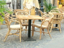 Table of a coffe shop. Street with coffee shops in the old city center of Bucharest, Romania Stock Photography