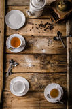Table with coffee and tea Royalty Free Stock Images