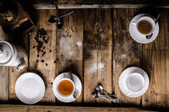 Table with coffee and tea Royalty Free Stock Image
