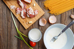 Table with components for pasta Stock Images