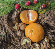 On a table covered with burlap are candles are tangerines, cones, fir or pine twig and berries. Christmas design Royalty Free Stock Image