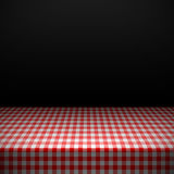 Table covered with checkered tablecloth Royalty Free Stock Images